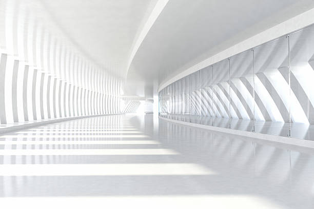 Abstract architecture empty corridor with white columns and sunlight stock photo
