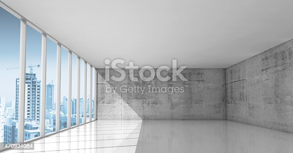 470934084 istock photo Abstract architecture, empty interior with concrete walls 470934084