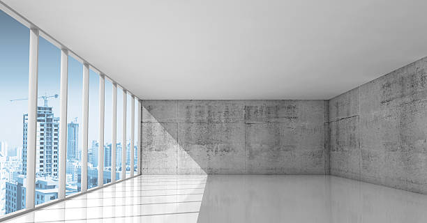 abstract architecture, empty interior with concrete walls - industrial modern stock photos and pictures