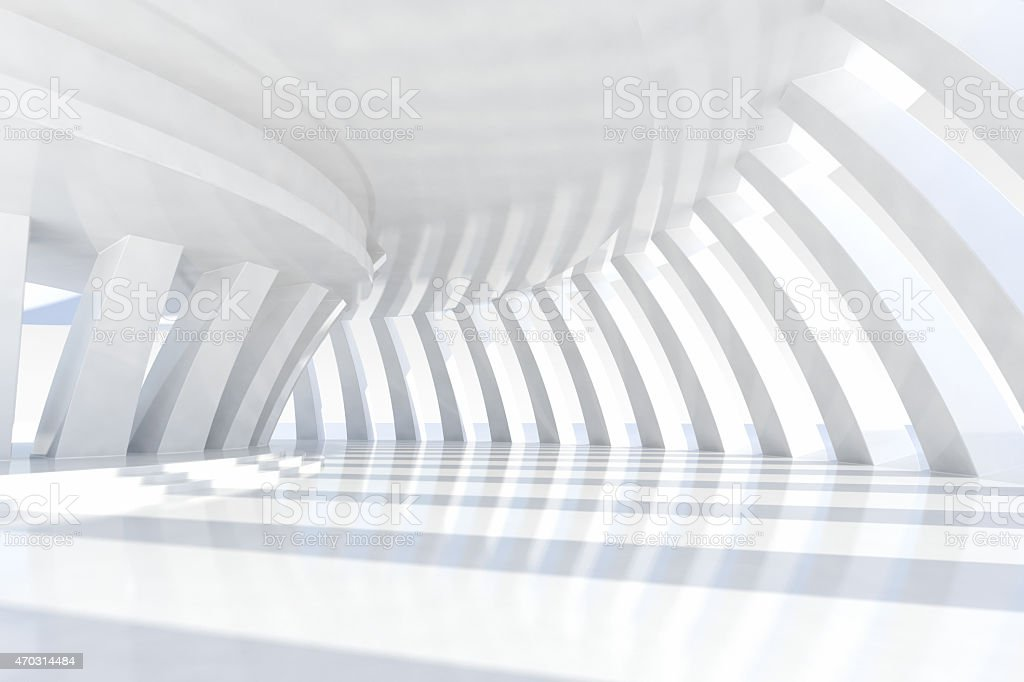 Abstract architecture empty space with rows of arches and sunlight stock photo