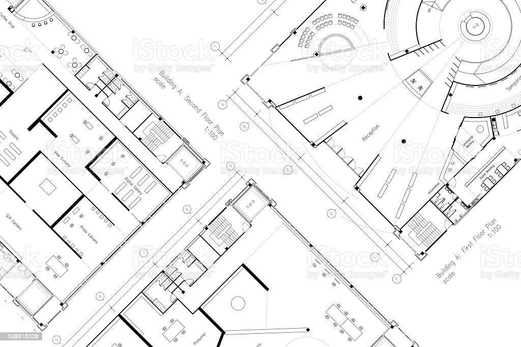Architektur Grundriss abstrakt architektur grundriss mit platz für sms stock fotografie