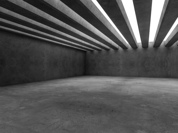 abstrakt architektur interieur hintergrund. 3d-rendering - betondecke stock-fotos und bilder