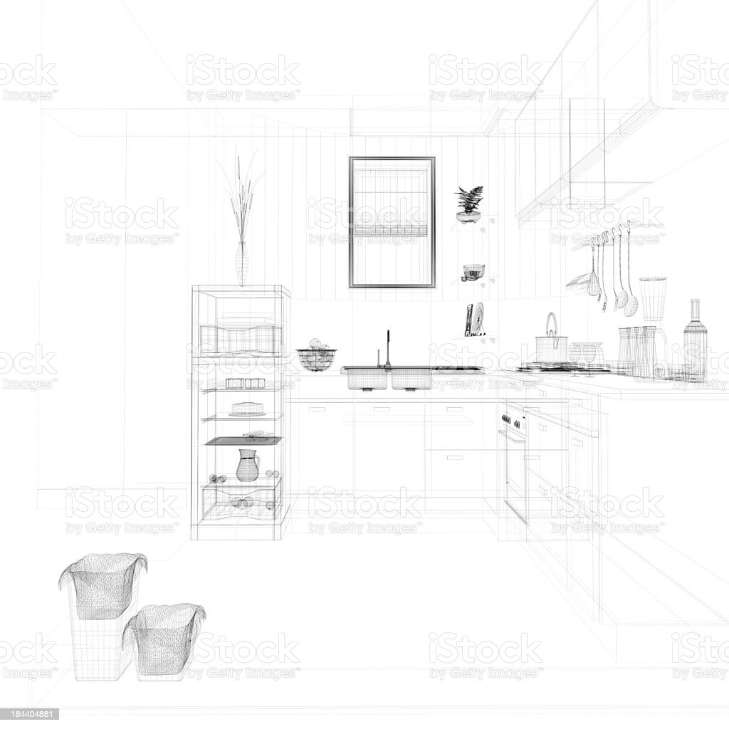 abstract architecture Kitchen 19 royalty-free stock photo