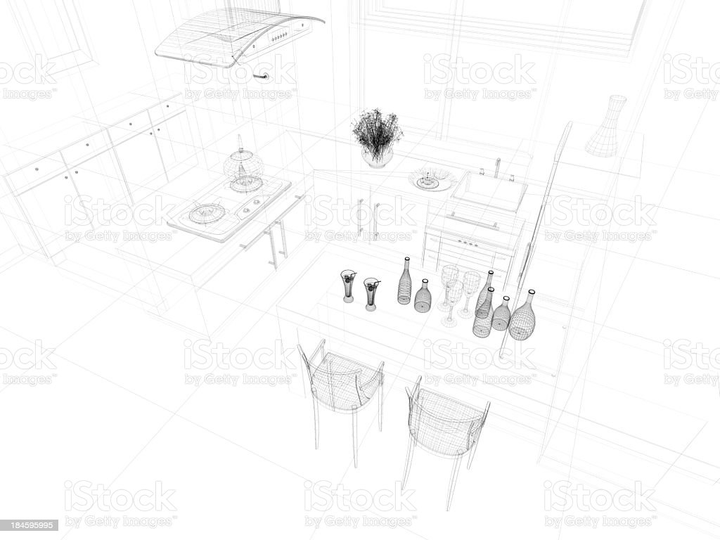 abstract architecture  Kitchen 9 royalty-free stock photo