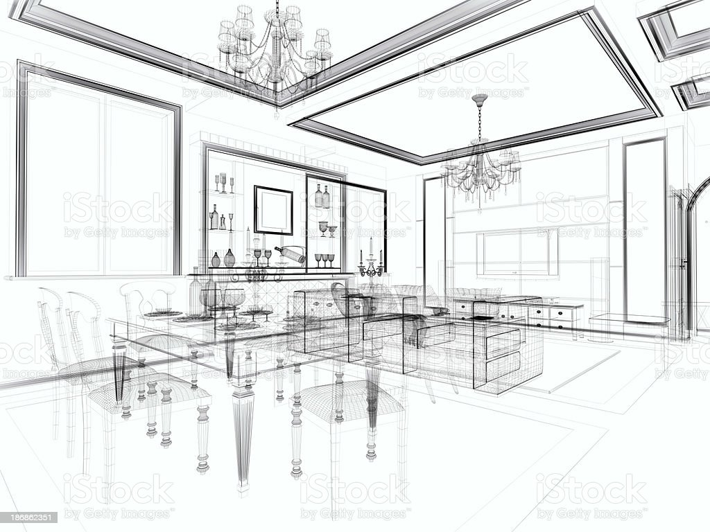 abstract architecture Modern Villa Living Room 1 stock photo