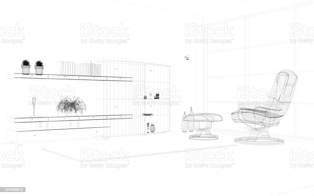 abstract architecture Modern  Villa  Living Room 2 stock photo