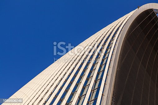 White Abstract Architecture Background with clear blue sky