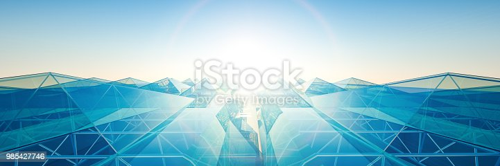 Abstract pyramid building sky line 3D worker