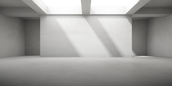 Abstract architecture space, Interior with concrete wall. 3d render.