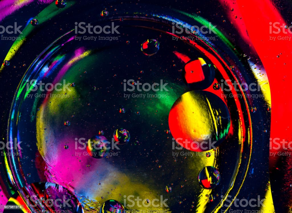 Abstract art background blue green red black color drops bubbles. stock photo