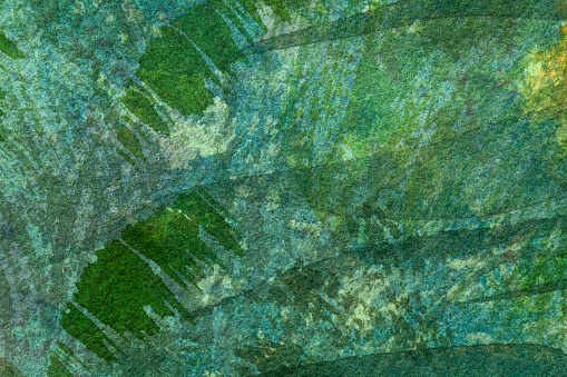 Abstract art background dark green and cyan colors. Watercolor painting on canvas with emerald soft gradient.