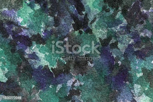 836574134 istock photo Abstract art background dark green and navy blue colors. Watercolor painting on canvas with black spots and gradient. 1220272049