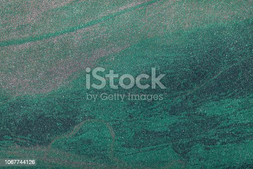 Abstract dark green art background with pattern. Multicolor painting on canvas. Fragment of artwork. Texture backdrop. Decorative turquoise wallpaper.