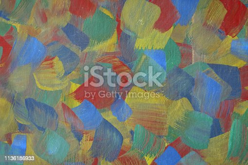 istock Abstract art background hand drawn acrylic painting. 1136186933