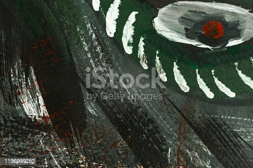 istock Abstract art background hand drawn acrylic painting. 1136999252