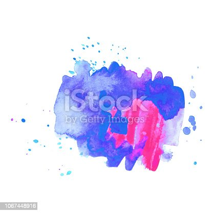 istock Abstract art hand paint isolated Watercolor stain on white background. Watercolor banner 1067448916