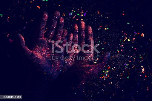 Abstract. Art. Hands. Ultraviolet. Particles