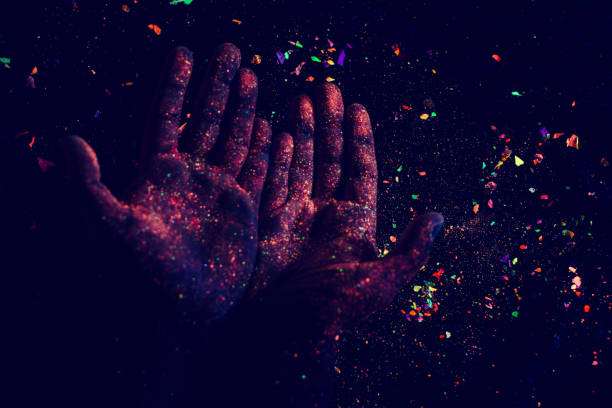 Abstract. Art. Hands. Ultraviolet. Particles Abstract. Art. Hands. Ultraviolet. Particles acid stock pictures, royalty-free photos & images
