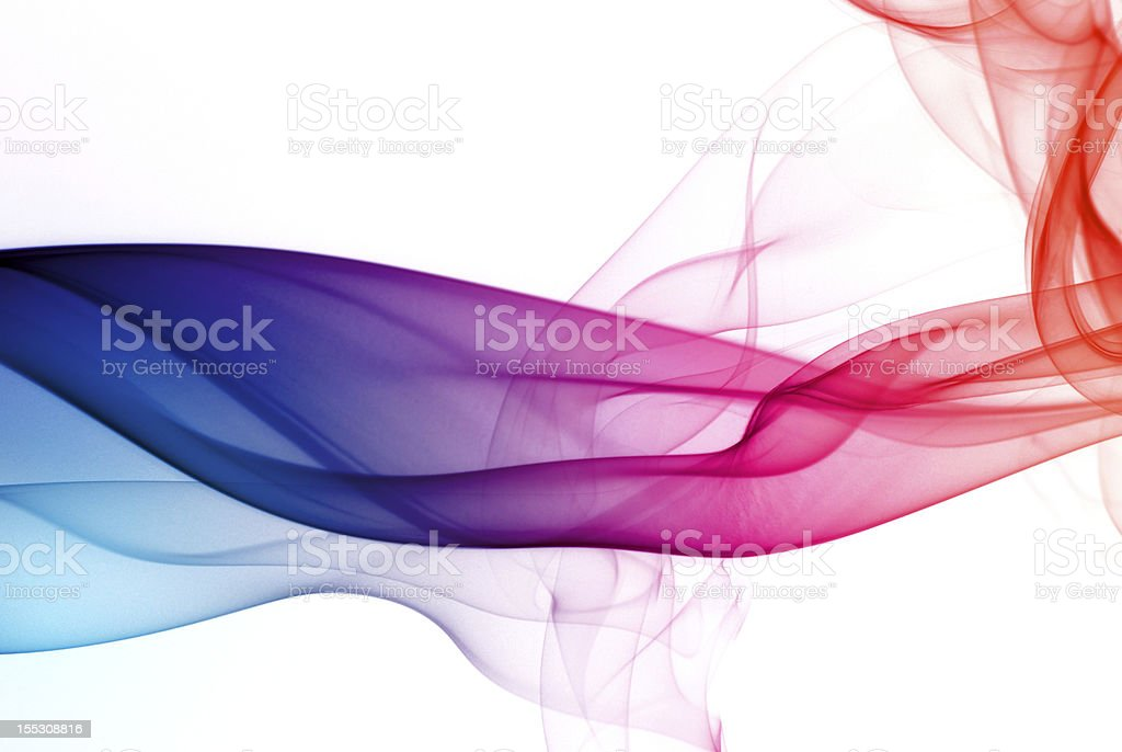 Abstract art of rainbow smoke trail stock photo