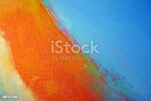 istock Abstract Art - Orange, Bright Blue Acrylics 98701256