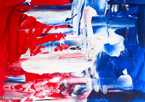 680789648 istock photo Abstract Art painted red, white and blue. Fourth of July Background art. 1150738440