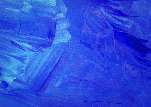 Abstract Art Painting Blue And Aqua Monochromatic Stock
