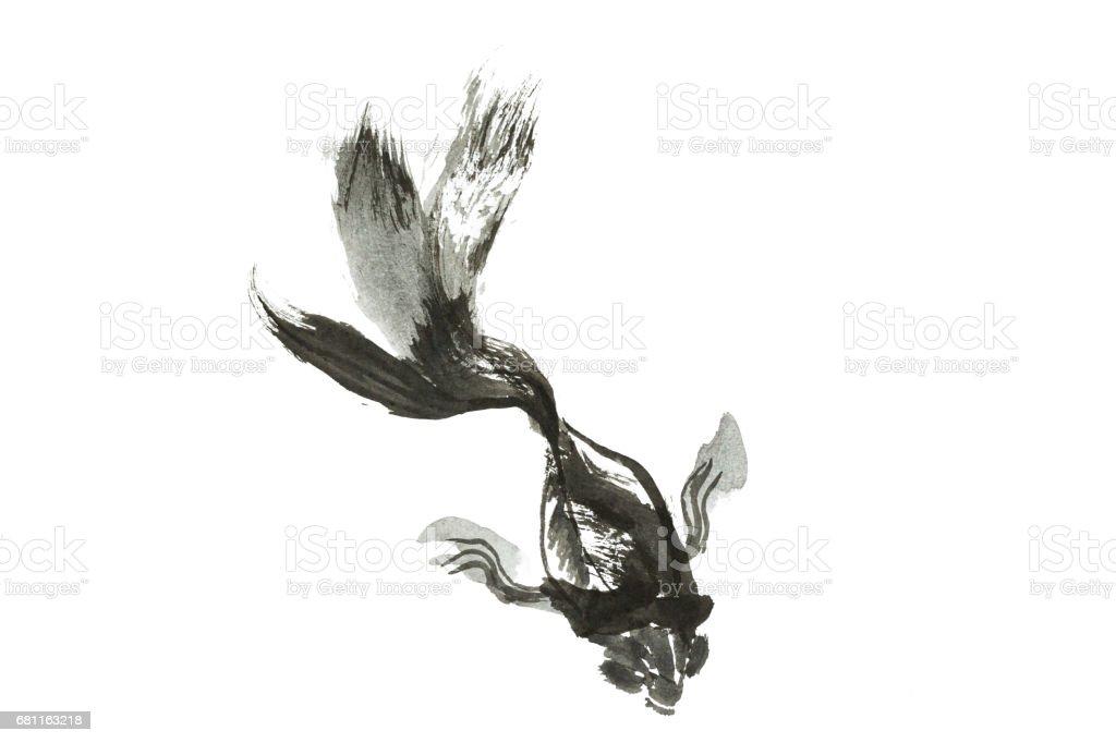 Altın Balık Yaşam çin Fırça Stil Altın Balık Siyah Beyaz Boya Boyama