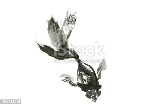 istock Abstract art painting golden fish life, Chinese Brush style painting golden fish in black and white. isolate fish with white background. 681163218