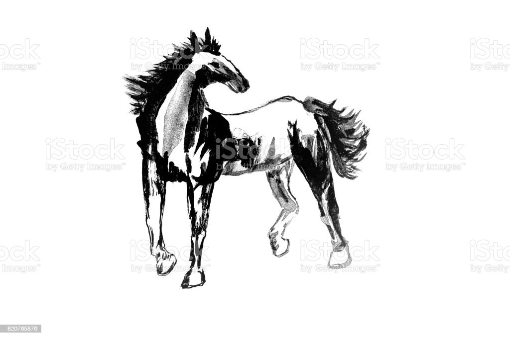 Abstract Art Painting Horse Chinese Brush Style Painting Horse In Black And Isolate House With White Background Stock Photo Download Image Now Istock