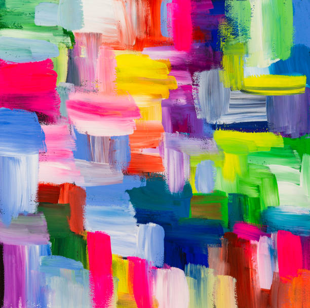 Abstract Artistic Brush Strokes Painting, Acrylic paint, vibrant colors, bold lines and shapes painted artwork. stock photo