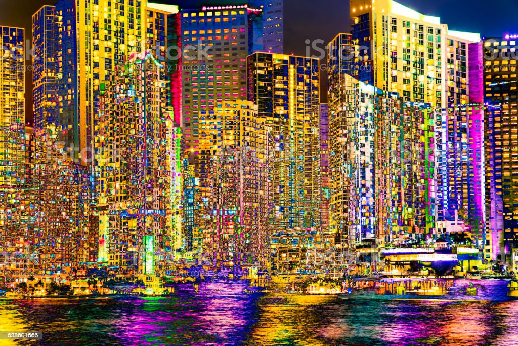 Abstract Artistic City Miami stock photo
