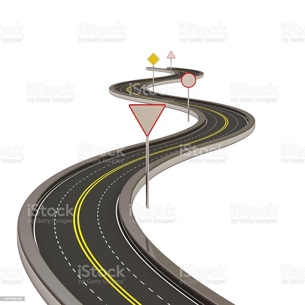 Abstract Asphalted Road with Road Signs stock photo
