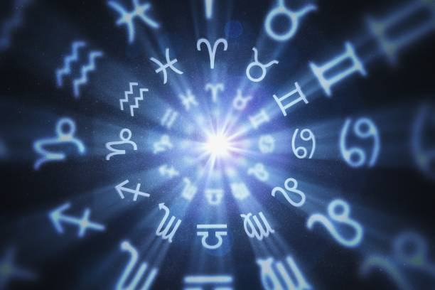 Abstract astrology background with zodiac signs in circle. 3D rendered illustration. stock photo