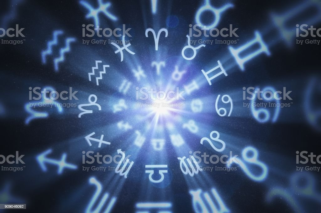 Abstract astrology background with zodiac signs in circle. 3D rendered illustration. стоковое фото