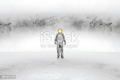 istock Abstract astronaut in frozen environment 681347478