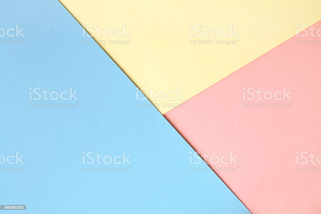 Abstract asymmetrical geometric watercolor paper background in three colors