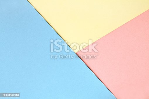 istock Abstract asymmetrical geometric watercolor paper background in three colors 860081330