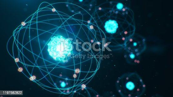 629533394 istock photo Abstract atom model. Atom is the smallest level of matter that forms chemical elements. Glowing energy balls. Nuclear reaction. Concept nanotechnology. Neutrons and protons - nucleus. 3D Illustration 1197582822
