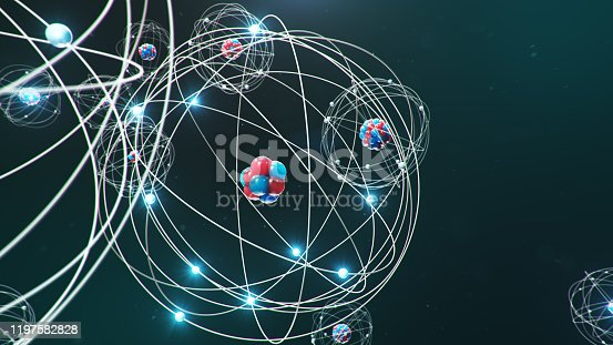 629533394 istock photo Abstract atom model. Atom is the smallest level of matter that forms chemical elements. Glowing energy balls. Nuclear reaction. Concept nanotechnology. Neutrons and protons - nucleus. 3D Illustration 1197582828