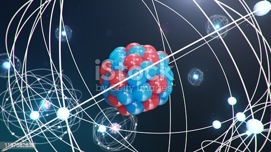 629533394 istock photo Abstract atom model. Atom is the smallest level of matter that forms chemical elements. Glowing energy balls. Nuclear reaction. Concept nanotechnology. Neutrons and protons - nucleus. 3D Illustration 1197582835