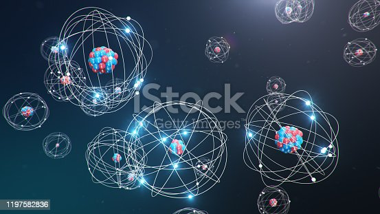 629533394 istock photo Abstract atom model. Atom is the smallest level of matter that forms chemical elements. Glowing energy balls. Nuclear reaction. Concept nanotechnology. Neutrons and protons - nucleus. 3D Illustration 1197582836