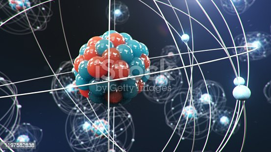 629533394 istock photo Abstract atom model. Atom is the smallest level of matter that forms chemical elements. Glowing energy balls. Nuclear reaction. Concept nanotechnology. Neutrons and protons - nucleus. 3D Illustration 1197582838
