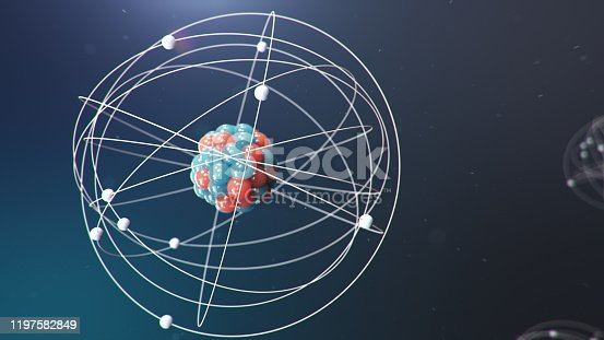 629533394 istock photo Abstract atom model. Atom is the smallest level of matter that forms chemical elements. Glowing energy balls. Nuclear reaction. Concept nanotechnology. Neutrons and protons - nucleus. 3D Illustration 1197582849