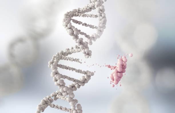 abstract atom or molecule structure for science - mutazione genetica foto e immagini stock