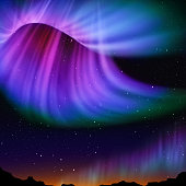 Multicolor aurora and star background.