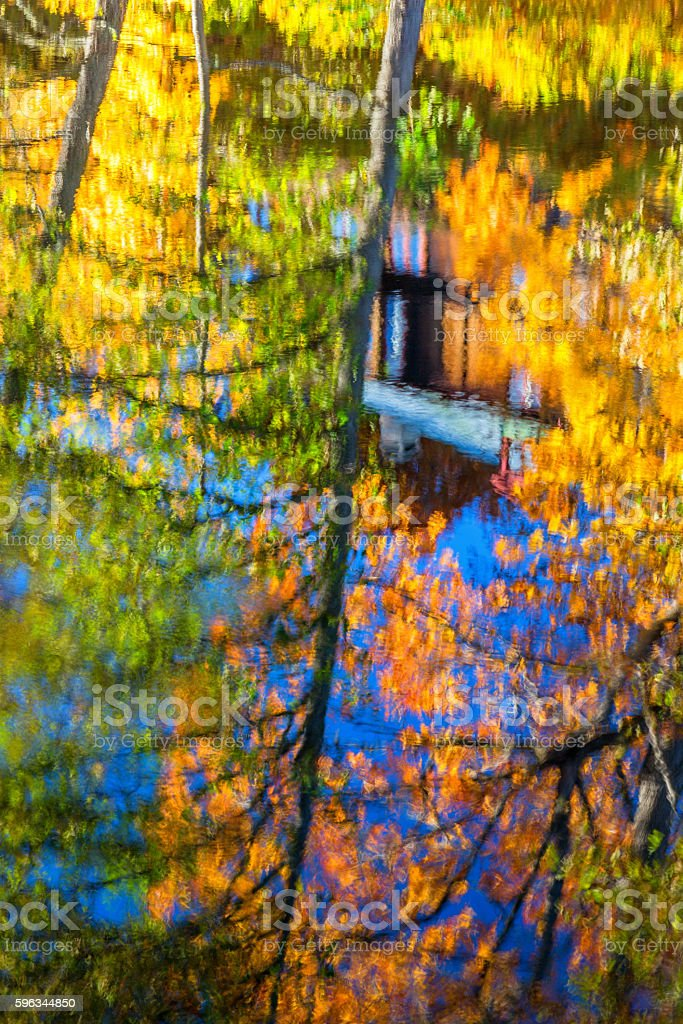 Abstract autumn colors reflecting on water surface royalty-free stock photo