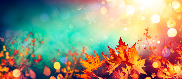 Abstract Autumn With Red Leaves On Blurred Background -Lush Lava and Aqua Menthe Colors Trend