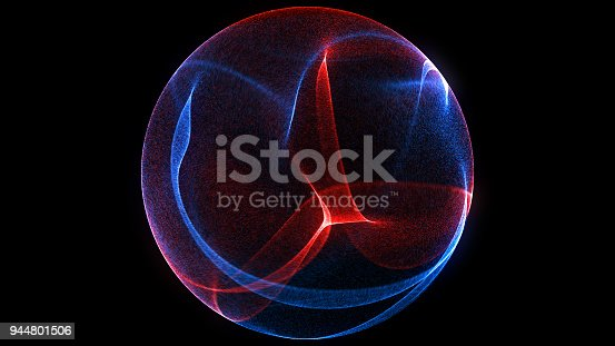 istock Abstract background 3d digital wave of glowing particles and wireframe. Explosion of glowing particles. Futuristic technology style background. 944801506
