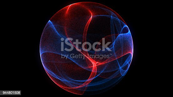 istock Abstract background 3d digital wave of glowing particles and wireframe. Explosion of glowing particles. Futuristic technology style background. 944801508