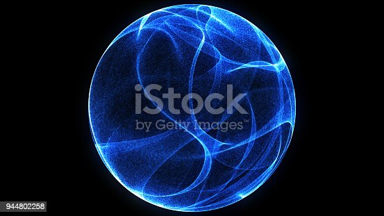 istock Abstract background 3d digital wave of glowing particles and wireframe. Explosion of glowing particles. Futuristic technology style background. 944802258